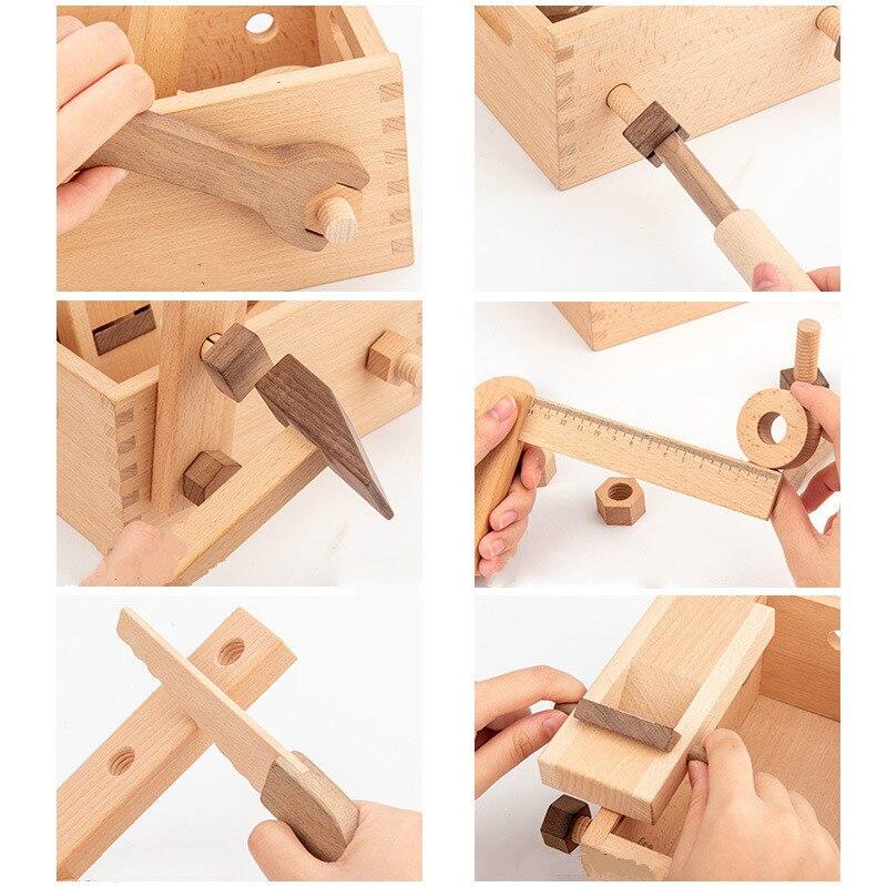 ferramenta de reparo multifuncional infantil madeira 04