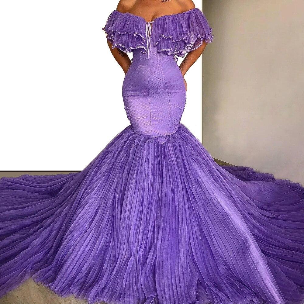 Evening Dresses Mermaid Long 2020 Sexy Sweetheart In Dubai Arabic Purple Chiffon Formal Prom Party Night Gown Floor Length China