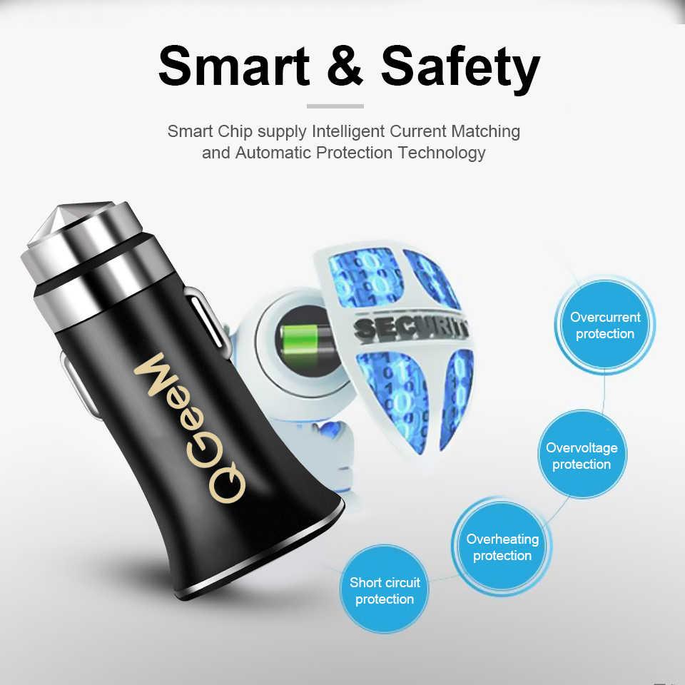 QGEEM QC 3.0 USB شاحن سيارة السلامة المطرقة تهمة سريعة 3.0 سيارة سريع شاحن الهاتف شحن محول آيفون شاومي Mi 9 Redmi