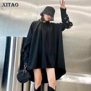 XITAO Black Plus Size Blouse Women Loose Fashion Stand Collar Elegant All Match 2020 New Autumn Full Sleeve Shirt Goddess ZP2809