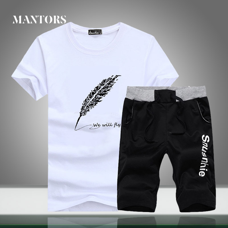 Summer Men Casual Tracksuit New Trend Sets Feather Printing Slim Fit Men's Sportswear T-shirt+Shorts 2PC Sport Suit Gyms O-Neck