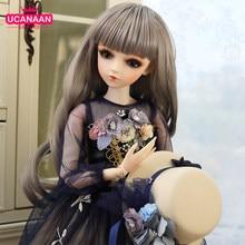 1/3 boneca bjd lifelike meninas princesa bonecas 60cm 18 articulações bola com roupas completas chapéu peruca vestido sapatos maquiagem olhos mutáveis brinquedos