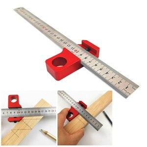 Calibrador Universal de Carpenter con ángulo de 45 grados, regla de acero con localizador, regla de acero, bloque fijo ajustable para carpintería, herramienta DIY