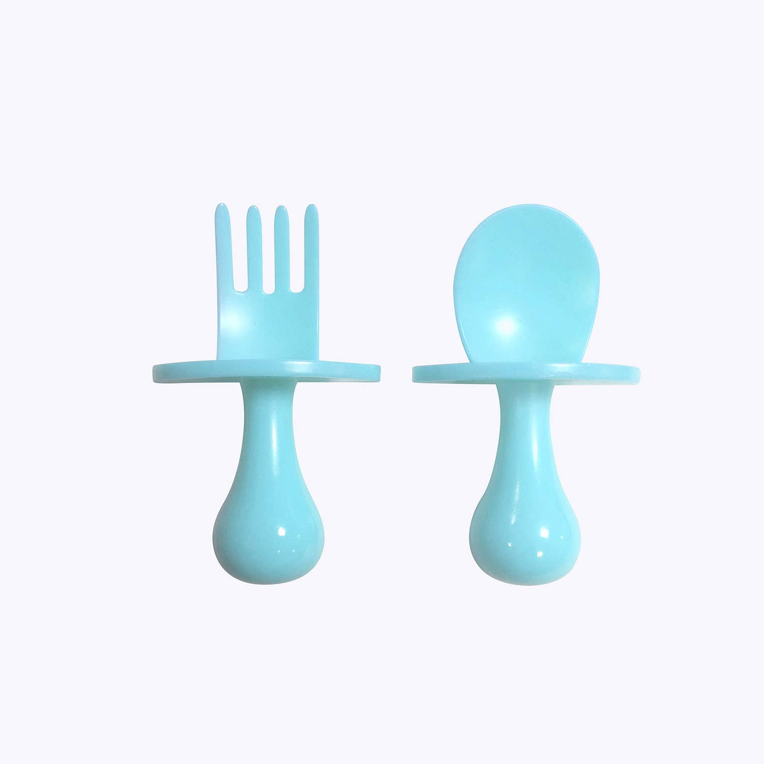 Baby Spoon First Self Feeding Spoon Fork Utensil Set For Baby Led Weaning And Toddlers BPA Free(Blue)