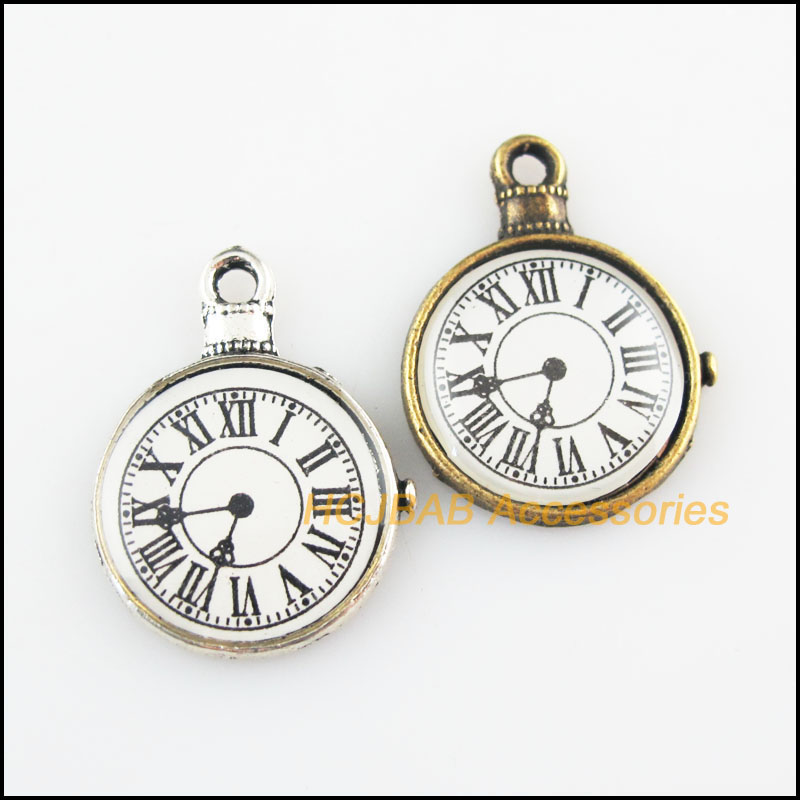 8 шт Ретро, Тибетский Серебряный тон состаренная бронза тон карманные часы Подвески 18x23.5mm