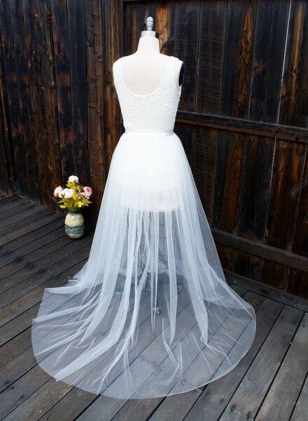 Detachable Skit Lvory White Wedding Detachable Skit Bridal Tulle Overskirt Train