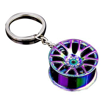 Keychain Colorful Wheel Hub Shape Zinc Alloy Cool Pendant Accessory for Car Key image