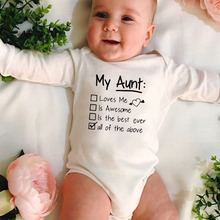 Newborn Funny  Bodysuit My Aunt Loves Me and Awesome Infant Baby Hipster Long Sleeve Toddler Jumpsuit  Cute Jumpsuit