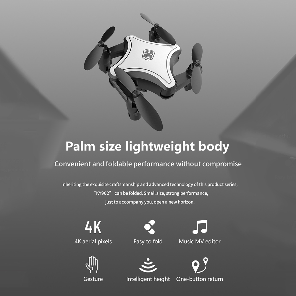cheapest KY902 2 4G Quadcopter Toy Foldable Helicopter 4 Channels ABS WIFI HD 6 Axis Gyro With Storage Bag Mini RC Drone Rechargeable