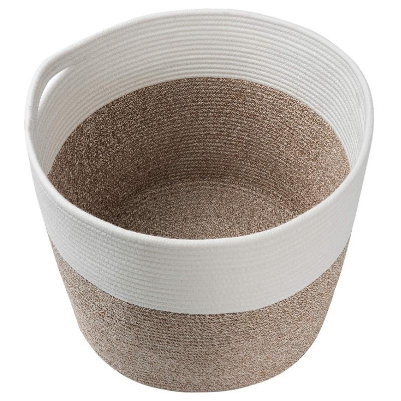 Large Cotton Rope Basket Baby Laundry Basket Woven Blanket Baby Basket,Toy Storage Basket