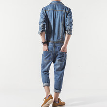 Japan Style Vintage Casual Denim Overalls Men Spring Autumn Slim Jean Jacket and Pants 2 Piece Set Detachable Harajuku Jumpsuit(China)