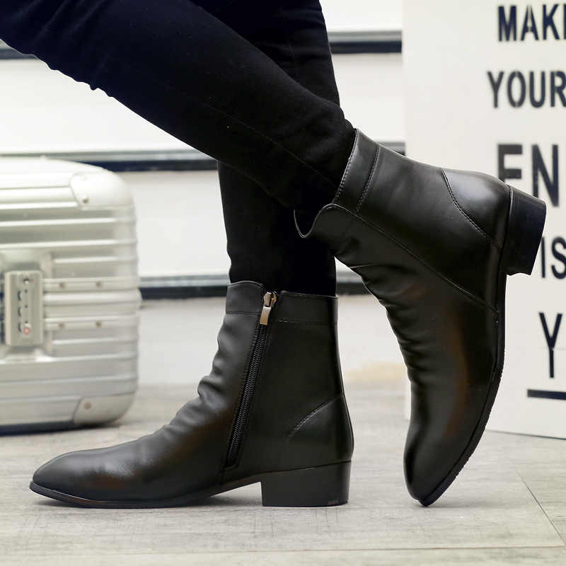 Men Winter Boots PU Leather Chelsea