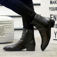 Men Winter Boots PU Leather Chelsea Boots Shoes Warm Shoes F