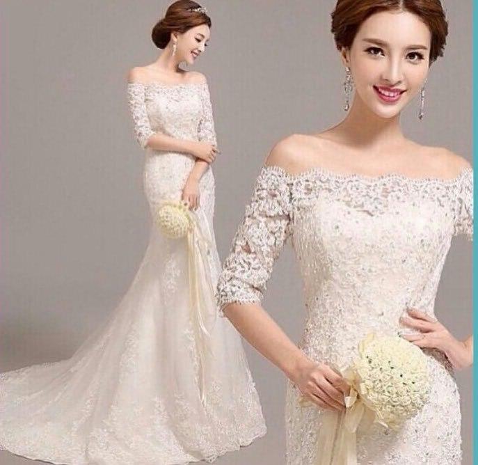 New High Quality Half Sleeve Mermaid Lace Wedding Dress