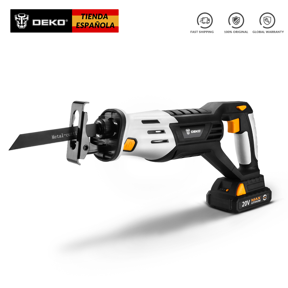 DEKO DKRS20Q2 20V Cordless Reciprocating Saw Adjustable Speed Electric Saw Come with 4 Pieces Blades and Battery