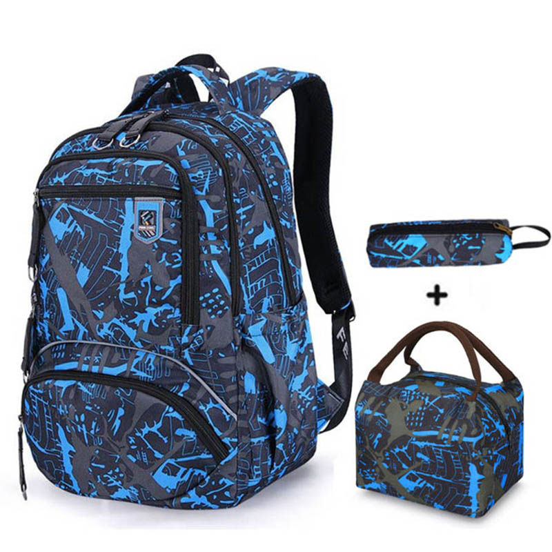 Waterproof Oxford High School Backpacks For Boys Teens Bookbag Print School Bags Set Travel Daypack For Teenagers Schoolbag