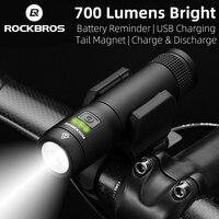 Rockbros 700 Lumens Bike Light Usb Oplaadbare 2600 Mah Waterdichte Fiets Licht Magnetische Koplamp Outdoor Camping Zaklamp-in Fietslicht van sport & Entertainment op
