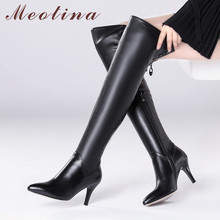Meotina Winter Thigh High Boots Women Natural Genuine Leather Thin High Heel Over The Knee Boots Sexy Slim Zipper Shoes Lady 39 cocoafoal woman genuine leather thigh high boots fashion sexy black high heeled shoes winter zipper chelsea over the knee boots