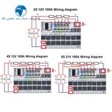 Bms 3s/4s/5s 12v 16.8v 21v 3.7v v 100a, carte de Circuit de Protection de batterie Lithium-ion Lmo ternaire, charge d'équilibre li-polymère
