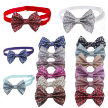 60 PCS Pet Supplies Dog Accessories Sequined Glitter Wave Leather Bow Ties Neckties Puppy Bow tie Dog Party Decoration Products