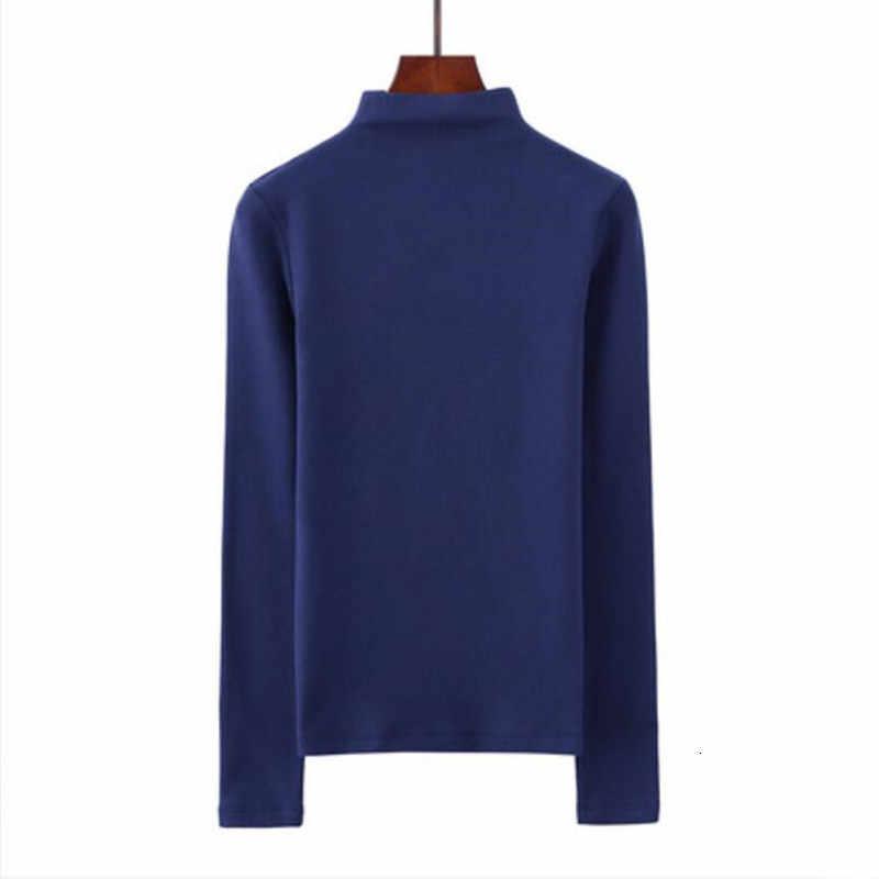 T-shirt damski t shirt bawełniana koszulka z długim rękawem Tshirt półgolf t-shirty 10 kolorów damskie bluzki ubrania moda casual slim