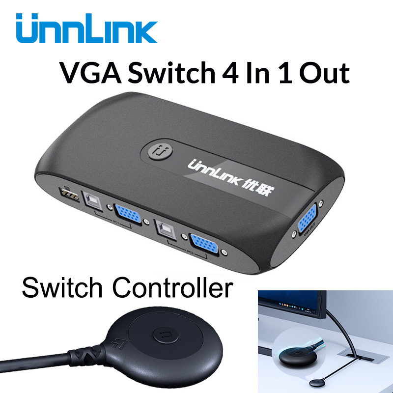 Unnlink 4X1 VGA KVM Switch Box Selector With Extender 4 Ports USB 2.0 Sharing Monitor Mouse Keyboard For 4 Computer Laptops PCs