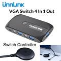 Unnlink 4X1 VGA KVM caja de selección con extensor 4 puertos USB 2,0 teclado de monitor para compartir 4 ordenadores portátiles Uds