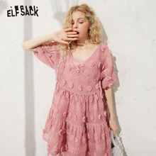 ELFSACK Pink Solid Floral Casual Chiffon Lace Up Dresses Women 2020 Spring New E