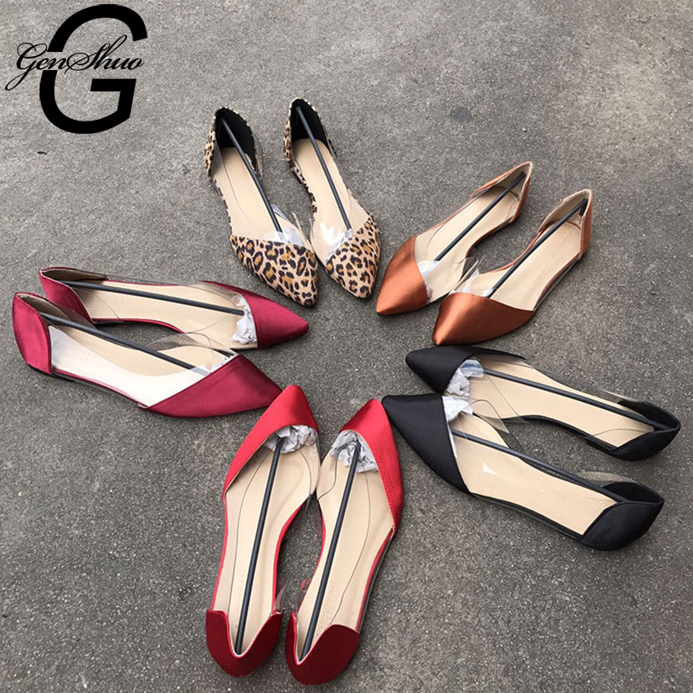 GENSHUO เซ็กซี่บัลเล่ต์แฟลตผู้หญิงรองเท้าแบนโปร่งใส LADIES Pointed Toe รองเท้าบัลเล่ต์แบนรองเท้าผู้หญิง ...