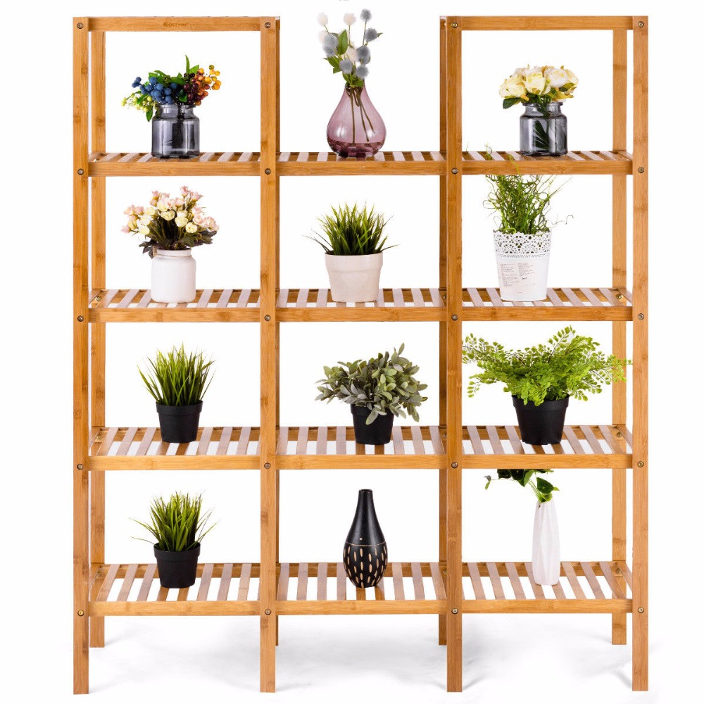 Multifunctional Bamboo Bookshelf Bookcase Flower Plant Stand Display Storage Rack Unit Closet Home Furniture HW57411