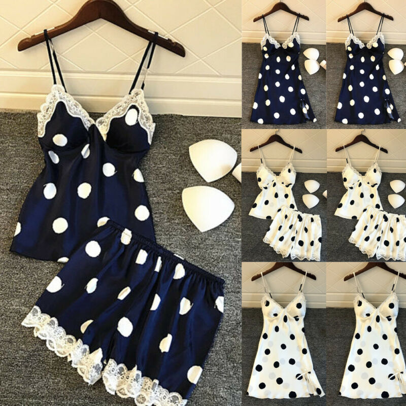 Sexy  Womens Satin Mini Dresses Babydoll Nightdress Nightgown Sleepwear