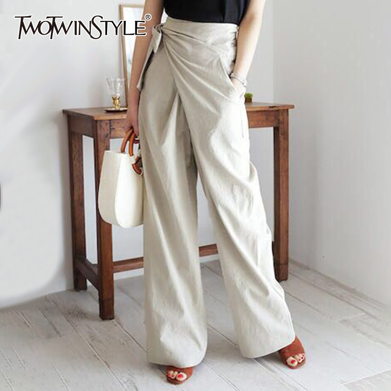 TWOTWINSTYLE Lace Up Bow Irregular Trousers For Women High Waist Casual Loose Autumn Wide Leg Pants Female Fashion Clothing 2020