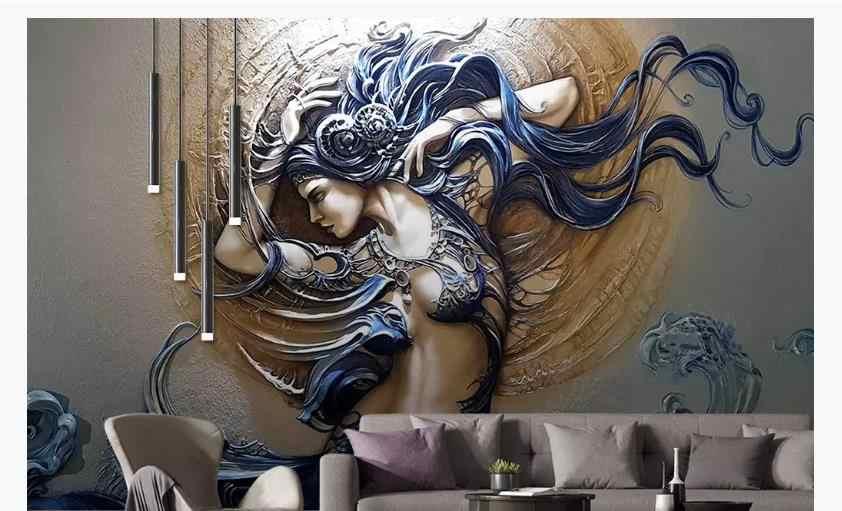 3D papier peint Mural stéréo papier peint créatif dynamique beauté grils fonds d'écran pour mur 3 D mode papier Mural en relief