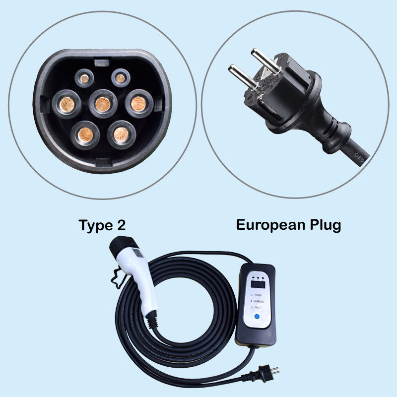 Electric Car Charger Type 2 EU Wall Socket Schuko Home Use EV Charging Cable AC 16A Current Adjustable