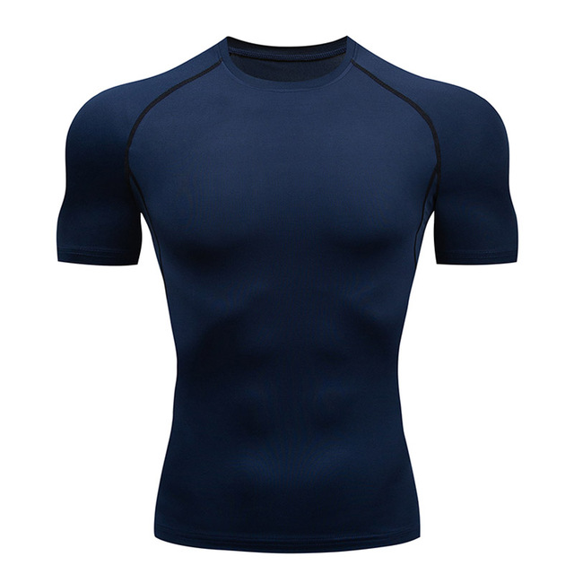Compression Quick dry T-shirt Men Running Sport Skinny Short Tee Shirt Male Gym Fitness Bodybuilding Workout Black Tops Clothing 5