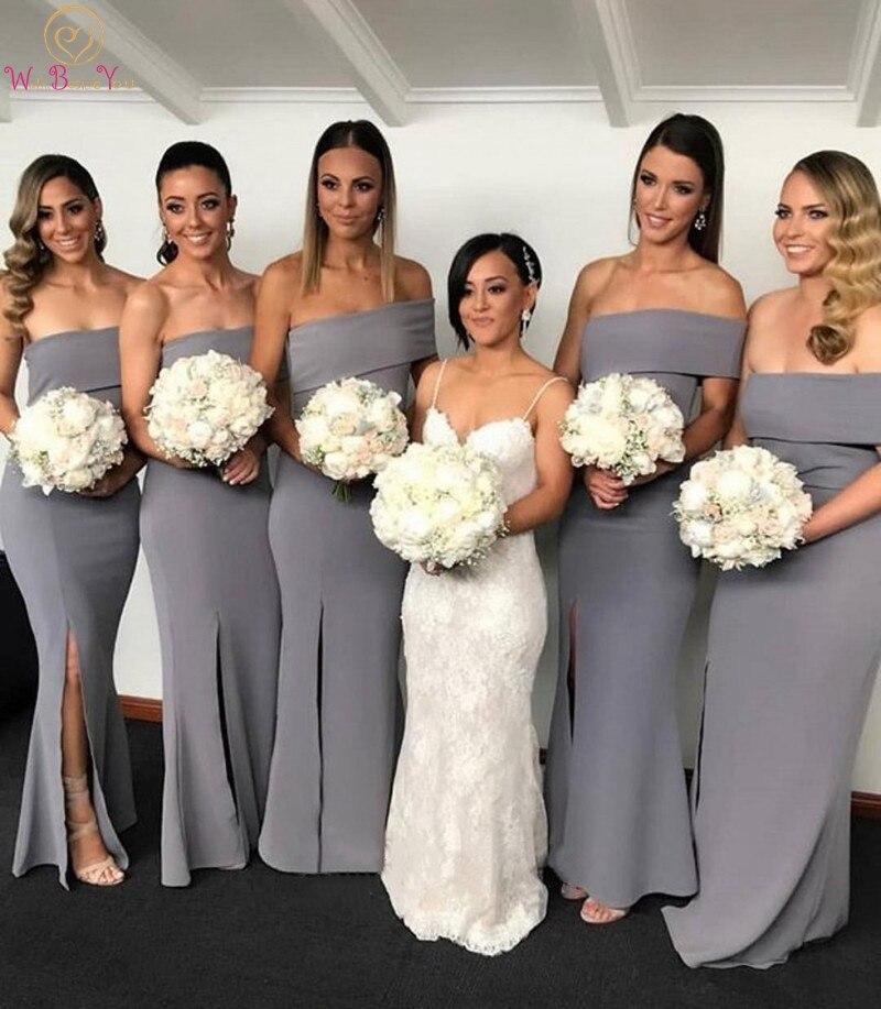 Robes de demoiselle d'honneur sirène grise 2019 étage-longueur longue robe de demoiselle d'honneur de fête de mariage asymétrique plié décolleté robes fendues