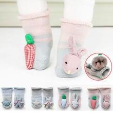 2 пар/лот non slip Детские носки осень зима Теплые трикотажные