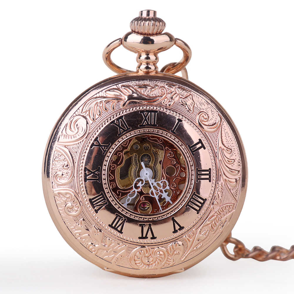 Red Ancient Vintage Automatic Mechanical Pocket Watch Antique Hand-winding Watch Unisex With FOB Chain For Men Women