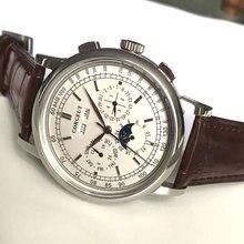 למעלה מותג 42mm Corgeut מכאני שעוני יד ירח שלב לבן חיוג כסף שנה יום חודש שבוע 316L SS מקרה אוטומטי שעון גברים