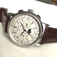 Corgeut Relojes de pulsera mecánicos de 42mm para hombre, esfera blanca en forma de Luna, año, mes, semana, 316L, SS, reloj automático