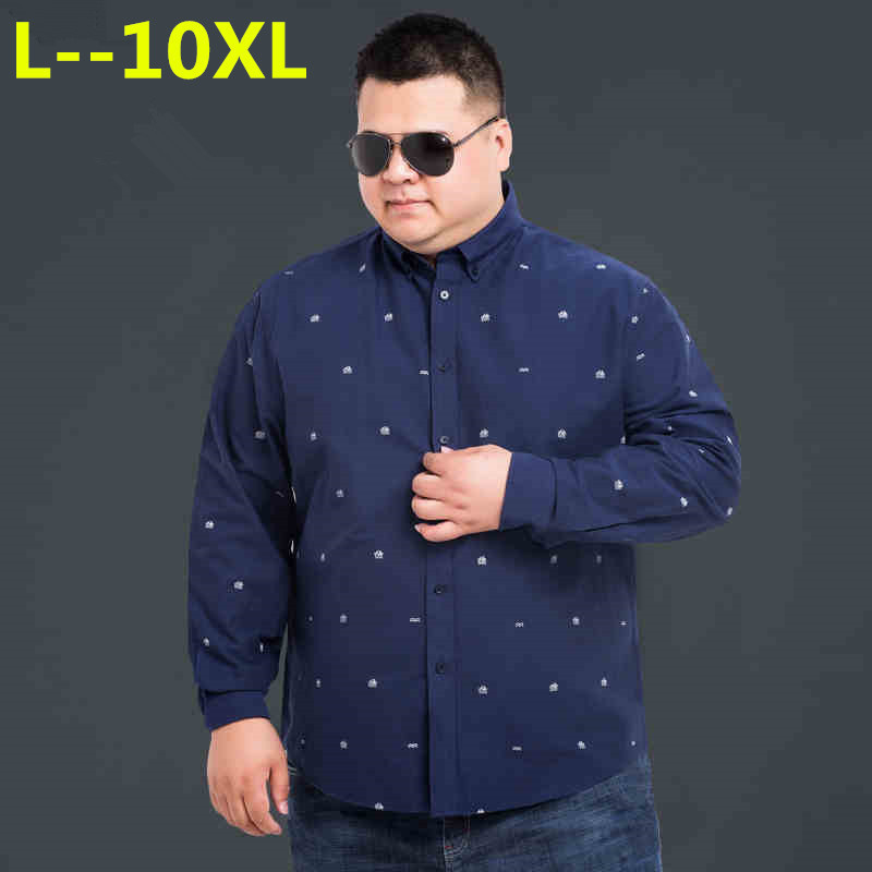 8XL 6XL 5XL New  Autumn Spring Mens Printed Casual Shirts Long Sleeve Cotton Dress Shirt Men Retro Style Camiseta Masculina