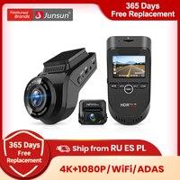 Junsun S590 WiFi 4K Car Dash Cam Ultra HD 2160P 60fps GPS ADAS DVR videoregistratore Sony 323 telecamera posteriore 1080P visione notturna
