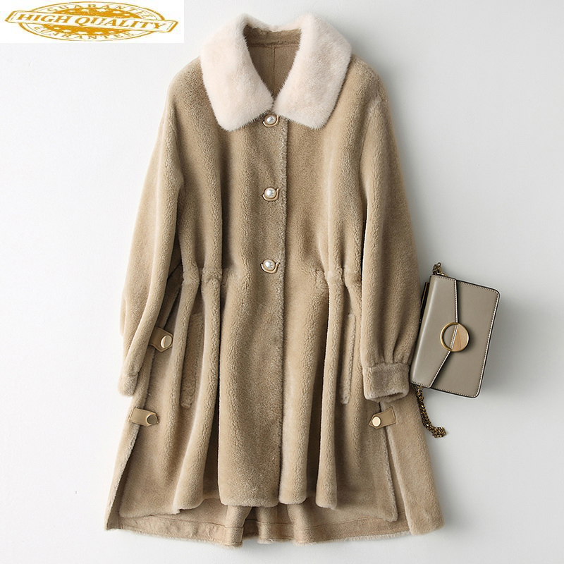 2020 Women's Real Fur Coat Autumn Winter Sheep Shearing 100% Wool Jacket Mink Fur Collar Korean Loose Coats Y687 KJ3557
