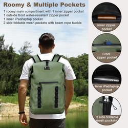 Waterproof Bag Backpack 30L Roll Top Super Dry bag TPU Swimming River Trekking Camping Outdoor Sport Activity