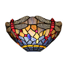 купить Tiffany European Luxurious Wall Lamp Stained Glass Lamp Shade Bedroom Bedside Lamp Hotel Villa Dining Room Wall Lamp дешево