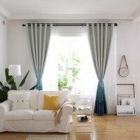 Moderno simples gradual azul cortinas de sombra completa para sala de jantar quarto.