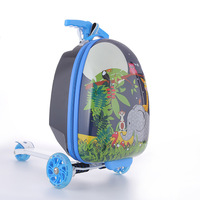 Child Cute cartoon suitcase, gift for children scooter luggage backpack rolling luggage Kids travel boarding suitcase