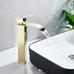 Image 2 - Brushed Nickel Waterfall Basin Faucet Single Lever Bathroom Vessel Sink Tap Deck Mounted Brass Lavatory sink Mixer Basin Tap