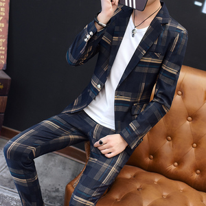 Image 2 - European Station New Polyester Mens Small Suit Suit Youth Casual Business Slim Trend Mens Plaid Suit Two piece Men Red Blazer