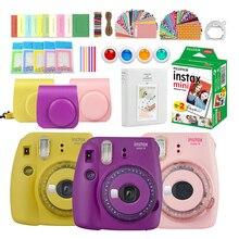 Fujifilm Instax Mini 9 Film Instant Camera Grape Pink Black + 20 Sheets Mini 8 White Films + Cover + Album + 10Pcs DIY Kits
